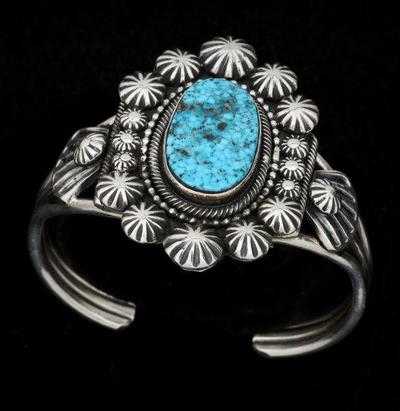Thicker-gauge water-web Kingman turquoise Navajo cuff by Jesse Martinez.