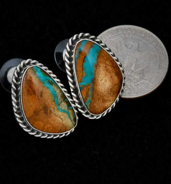 Navajo hand-picked ribbon turquoise studs, by Augustine Largo. #1484
