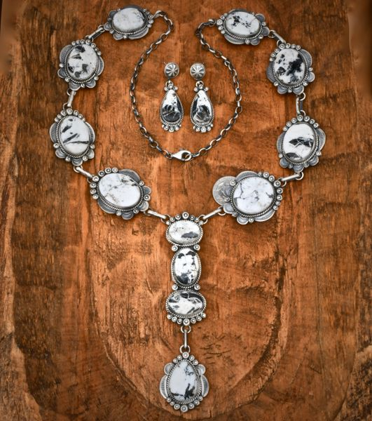 Navajo 14-stone lariat set with White Buffalo by Gilbert Tom. #1485—SOLD!