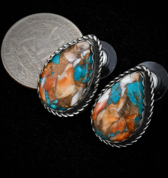Custom-made Navajo studs with turquoise, spine-oyster and bronze mix, by Robert Shakey.