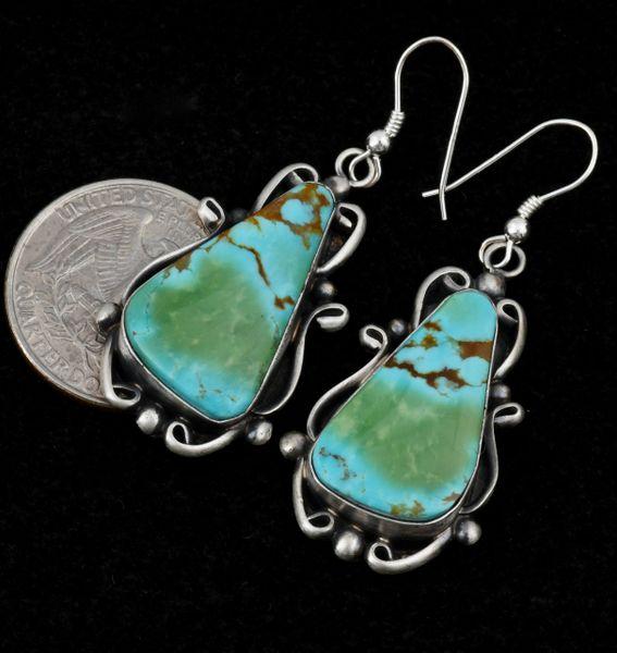 Elouise Kee unusual Kingman turquoise Navajo earrings. #1487