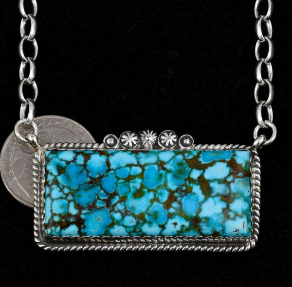 Custom-made larger water-web Kingman turquoise Navajo bar necklace.