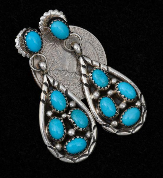 Dead-pawn two-piece turquoise teardrop cluster earrings. #1490
