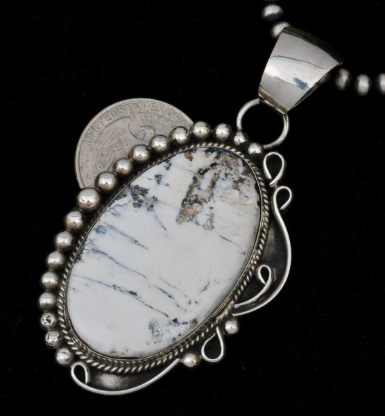 Larger, 2.25-inch White Buffalo Navajo pendant by Alfred Martinez (shown with optional 4mm, 24-inch Navajo 'pearl' beads).