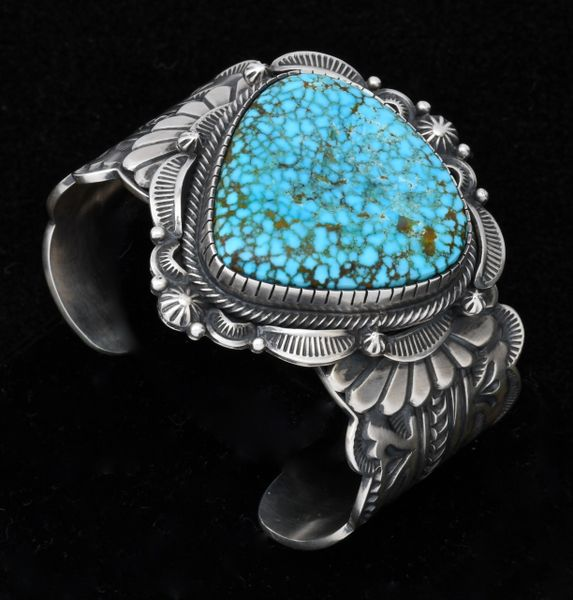 Trophy Navajo cuff with premium water-web Kingman Turquoise by Bennie Ramone.