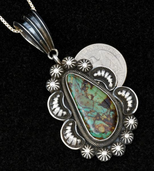 Medium size Navajo turquoise pendant (and chain) with repousse' #1495