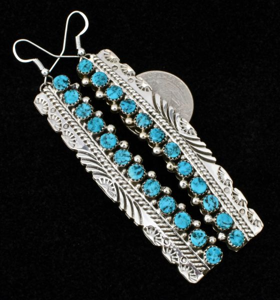 Three-inch hand-stamped Navajo drops with 24 Sleeping Beauty turquoise stones, by Tillie Jon.—SOLD!