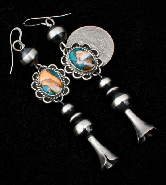 Navajo drops with eight Navajo 'pearls' and turquoise, spiney-oyster and bronze-mix 'stones,' by Peter Yazzie. #1501