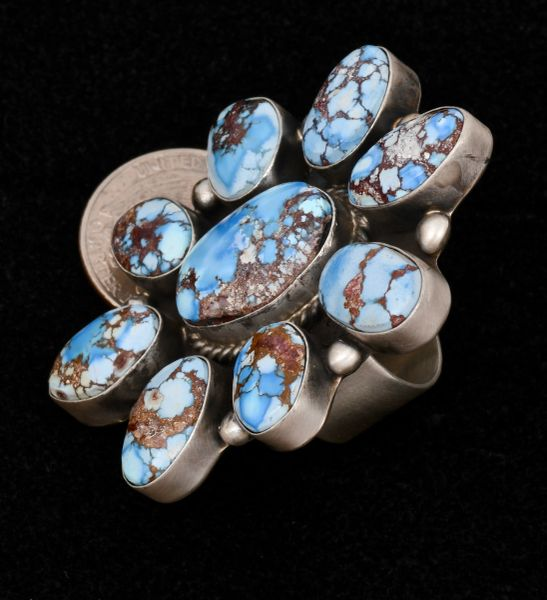 Nine-stone Golden Hills turquoise cluster ring, by Navajo silversmith Augustine Largo. #1503—SALE PENDING