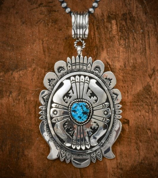 Richard Singer double-overlay 3.5-inch (not counting the bale) pendant with Sleeping Beauty turquoise. Shown with optional 5mm, 20-inch Navajo 'pearl' beads. #1508—SOLD!