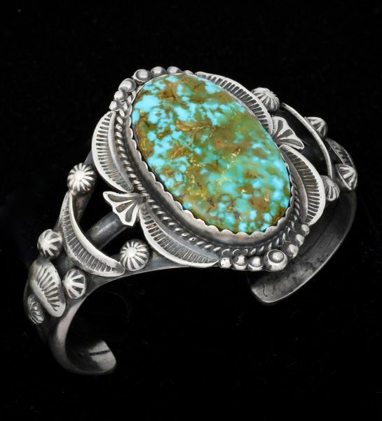 Smaller wrist size Gilbert Tom cuff with micro-web Kingman turquoise.