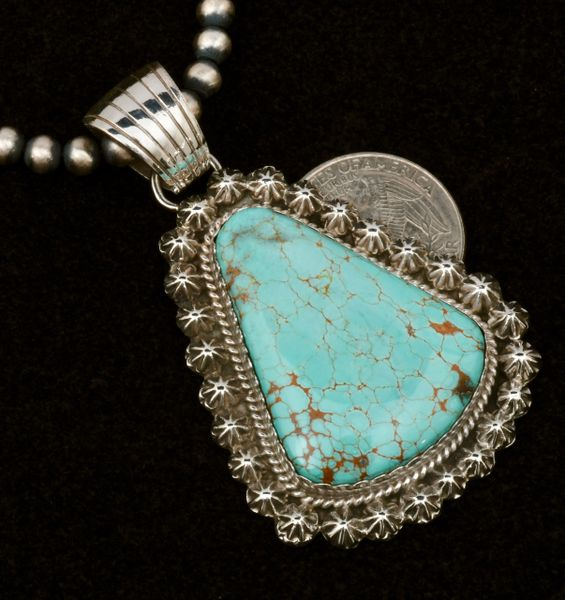 Large No. 8 Mine turquoise Navajo pendant by Robert Shakey (shown with optional 5mm, 20-inch Navajo 'pearl' bead chain). #1513