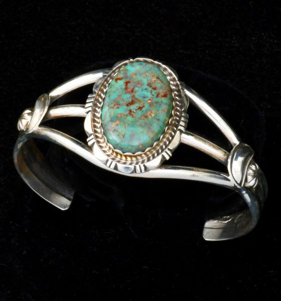 Small wrist-size Royston turquoise Navajo cuff, by Robert Shakey. #1516
