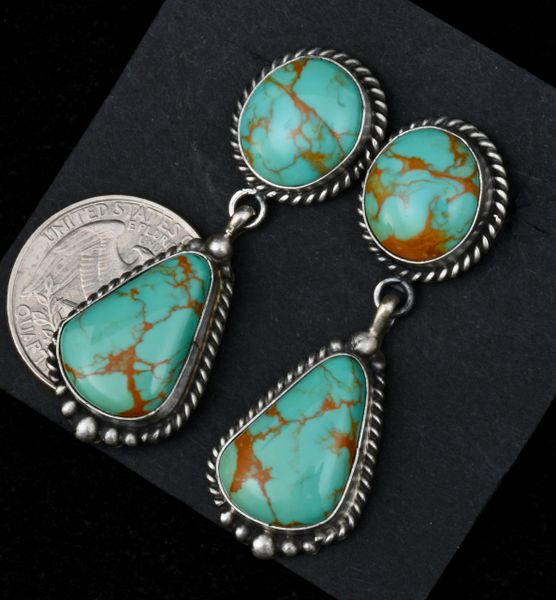 Navajo two-piece premium-grade turquoise earrings by Elouise Kee. #1521—SOLD!!