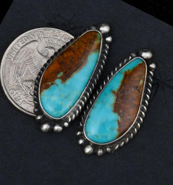 Kingman turquoise Navajo earrings by Elouise Kee. #1522