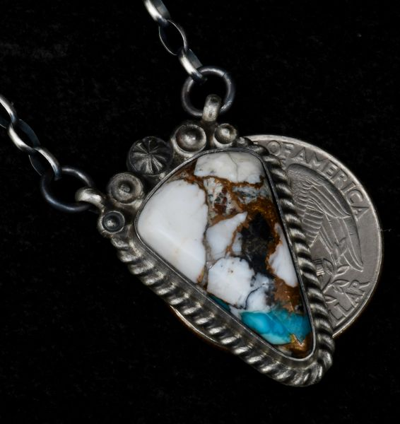 Navajo bar necklace with White Buffalo; turquoise and bronze mix, by Robert Shakey. #1524