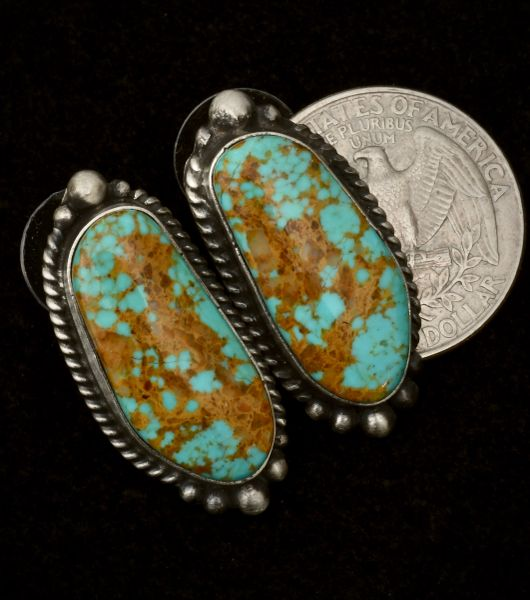Elouise Kee Navajo studs with Royston, Nevada turquoise. #1530