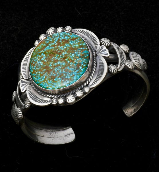 Gilbert Tom Navajo cuff with premium micro-web Kingman turquoise. #1532