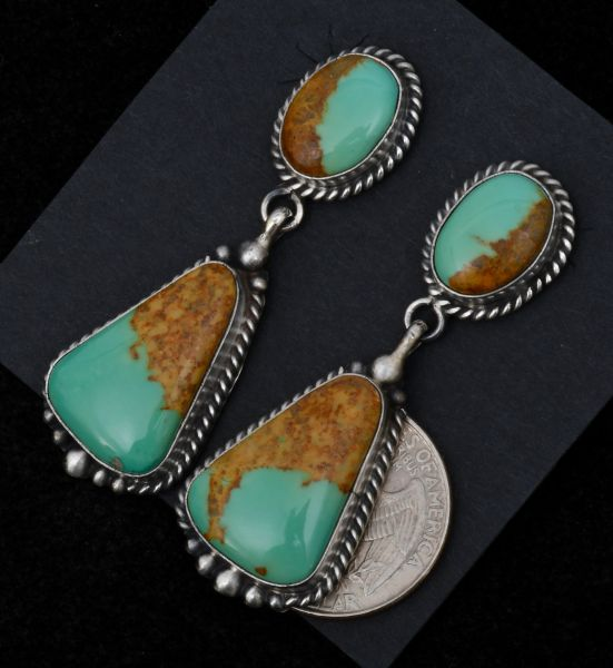 Navajo two-piece earrings with Royston turquoise by Elouise Kee. #1540