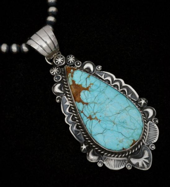 Large 2.75-inch, robin's-egg-blue No. 8 Mine turquoise pendant (shown with optional 5mm, 22-inch burnished Sterling Navajo 'pearls). #1543
