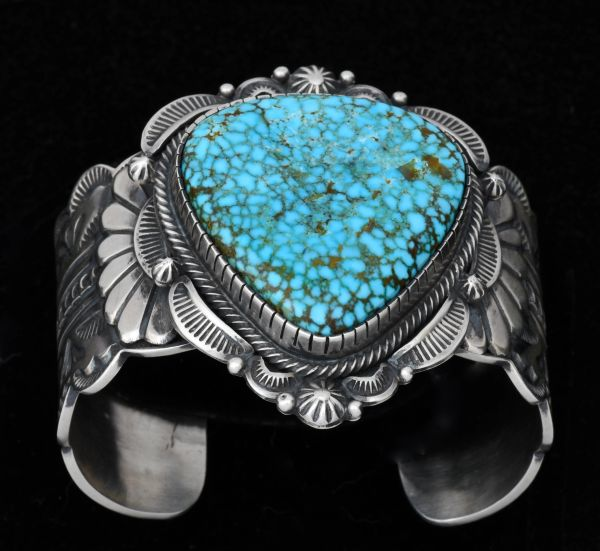 Bennie Ramone masterpiece Navajo cuff with water-web Kingman turquoise. #1545