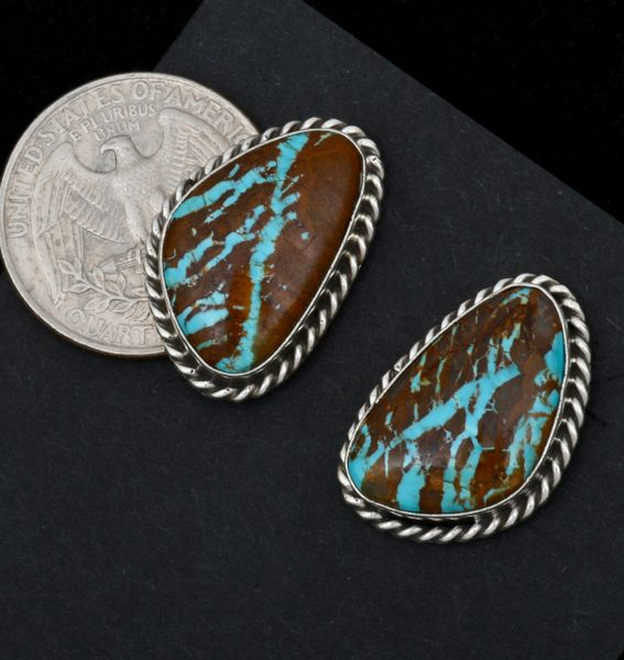 Navajo stud earrings with matching ribbon turquoise by Augustine Largo. #1547