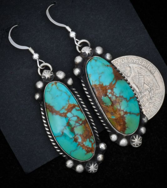 Navajo hanger earrings with Kingman turquoise in old-style patina. #1549