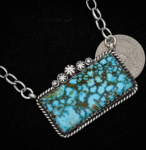 Navajo custom-made larger bar necklace with water-web Kingman Turquoise. #1550