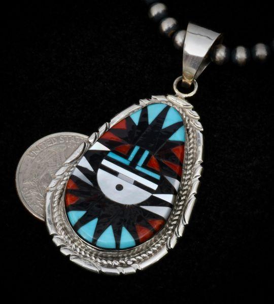 Inlay pendant by Zuni Pueblo artist Gladys Lamy. #1552