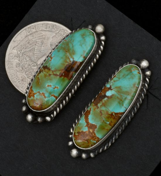 Navajo earrings with colorful turquoise by Elouise Kee. #1553