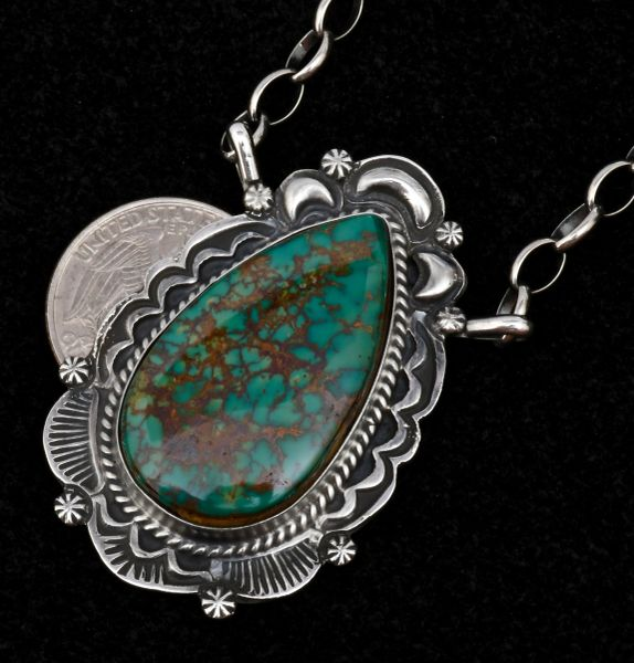 Custom-made Navajo bar-type necklace with hand-picked micro-web Kingman turquoise. #1557