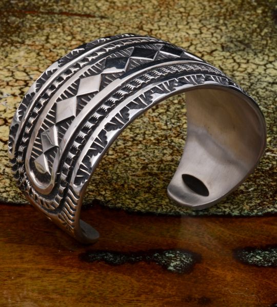 Elvira Bill heavy-silver hand-stamped masterpiece Navajo cuff. #1559 SOLD!