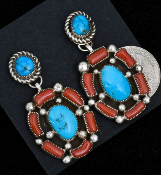 Two-piece Navajo earrings with Mediterranean branch red coral and Sleeping Beauty turquoise. #1560