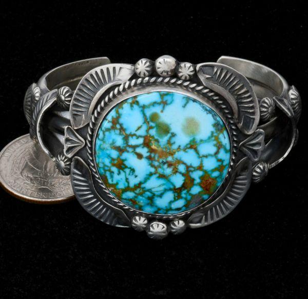 Gilbert Tom small wrist size water-web Kingman turquoise cuff. #1569