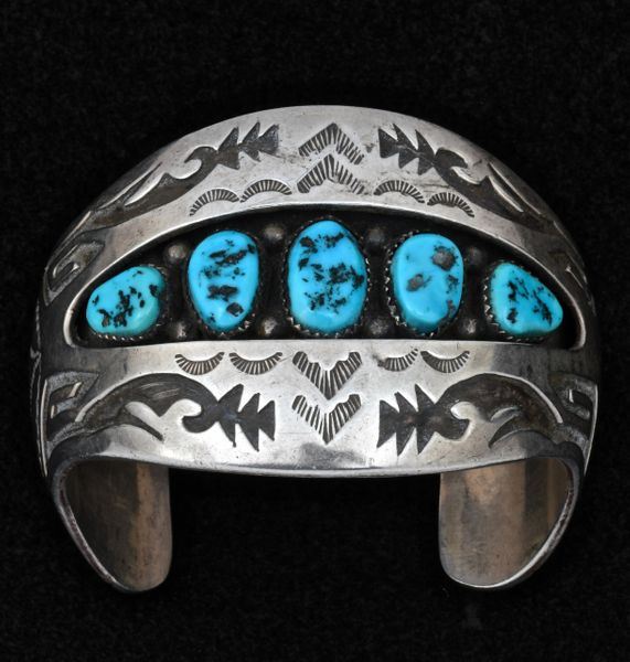 Older Navajo double-overlay shadowbox pawn cuff. #1572