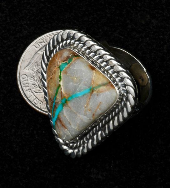 Size 7 ribbon turquoise Navajo ring. #1576