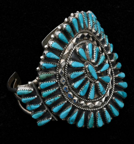 Older Zuni-type cluster cuff with extra-deep Kingman turquoise settings by Tommy Lowe, Navajo. SOLD! #1578