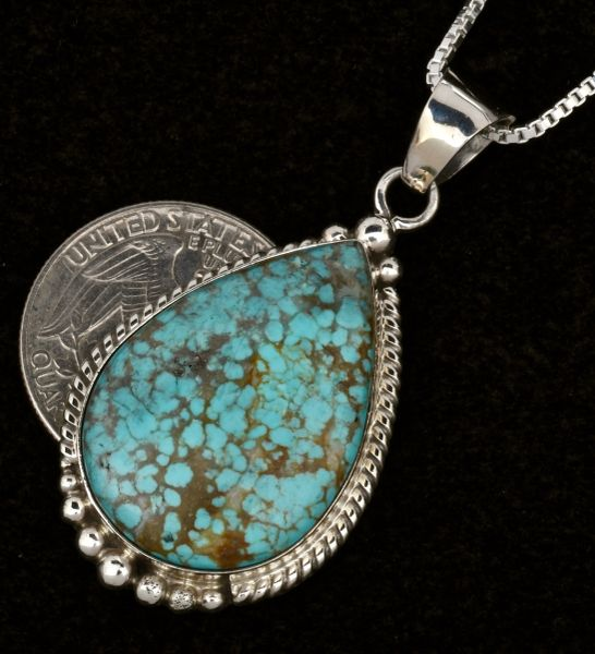 """Elouise Kee No. 8 Mine turquoise 1.5"""" Navajo pendant with chain. #1580"""