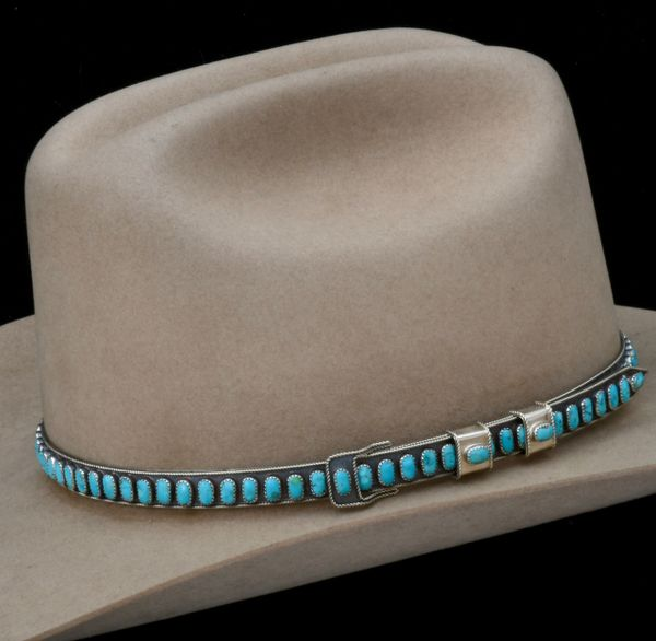 Navajo Sterling adjustable hatband with 89 real (not compressed block) Kingman turquoise stones, by James Freeland.