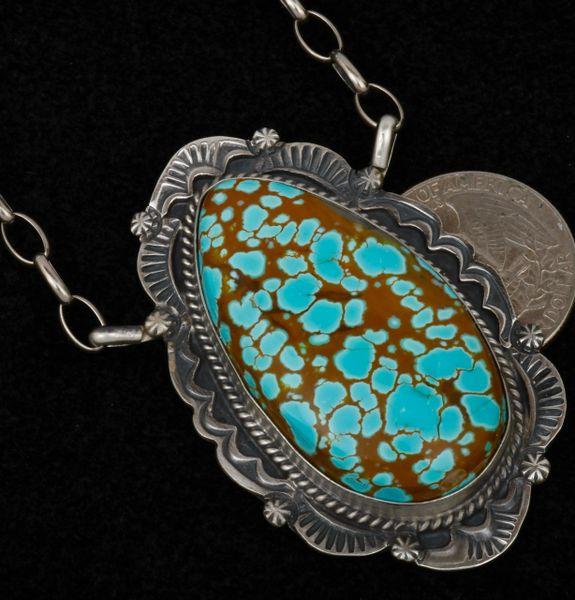 Trophy No. 8 Mine turquoise Navajo bar-like pendant, by Robert Shakey. #1589