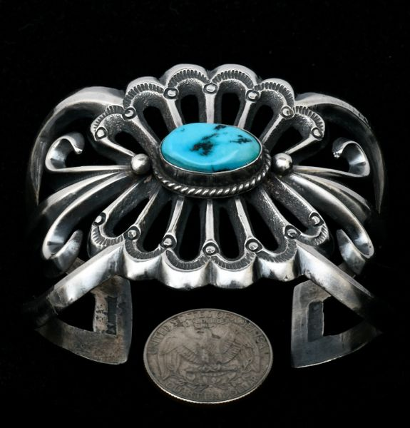 Elaborate Navajo sandcast pawn cuff with Sleeping Beauty turquoise. #1591