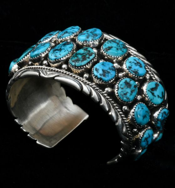 Navajo double row-cuff with 26 Sleeping Beauty turquoise stones. #1594