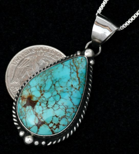 Navajo pendant, chain included, with hand-picked Kingman turquoise, by Elouise Kee. #1595