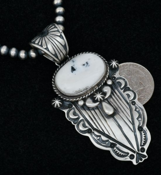 """Artsy White Buffalo hand-stamped pendant with repousse' by Marcella James. #1597 Shown with optional 5mm, 22-inch Navajo """"pearls."""""""