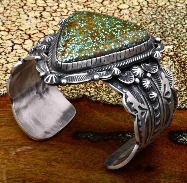 Micro-web Kingman turquoise Navajo cuff, custom made by Gilbert Tom. #1601