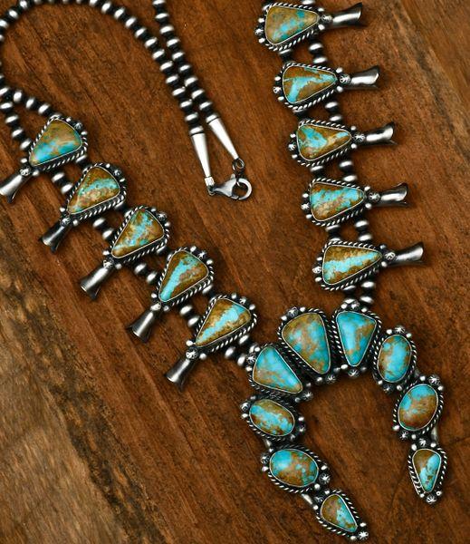 19-stone ribbon turquoise Navajo squash-blossom, by Augustine Largo. #1604