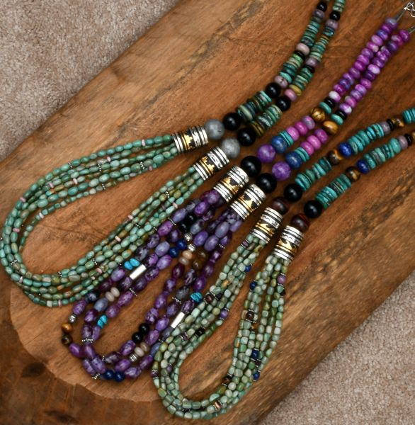 30-inch T&R Singer multistrand gold barrel-bead necklaces (Price is per each) #1607