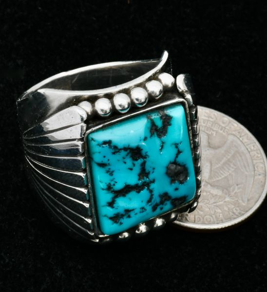 Navajo size 12.5 heavy silver pawn ring with Sleeping Beauty turquoise. #1614