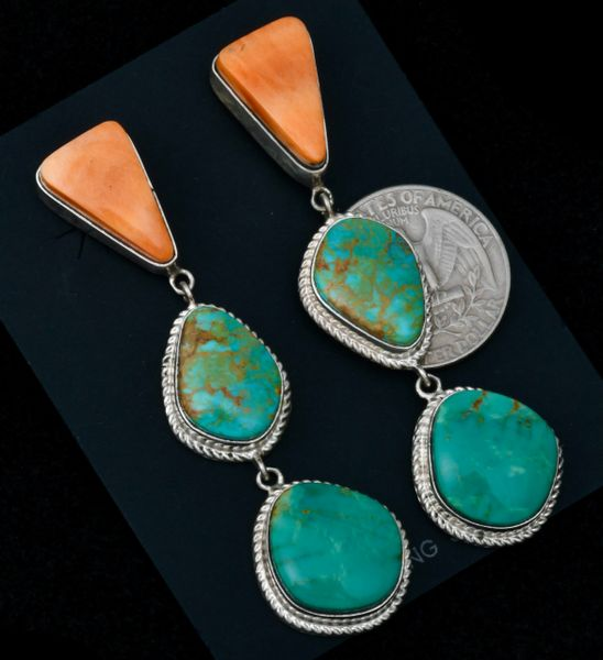 Three-piece Navajo triplet drop earrings with orange spiney-oyster and turquoise. #1615