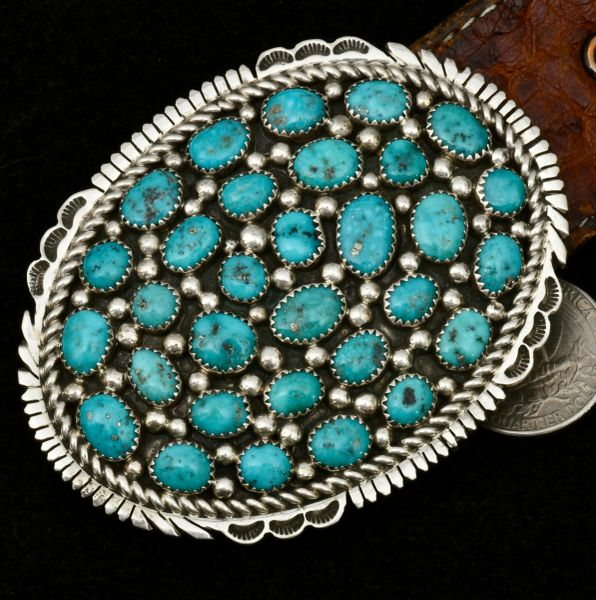 Hand-stamped Navajo pawn 31-stone turquoise belt buckle. #1616